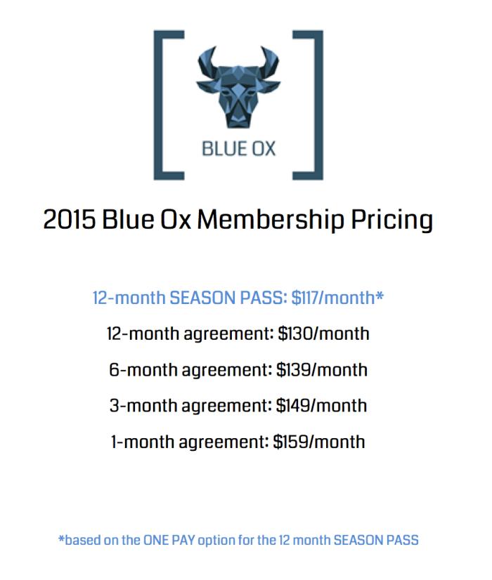 BLUE OX PRICING