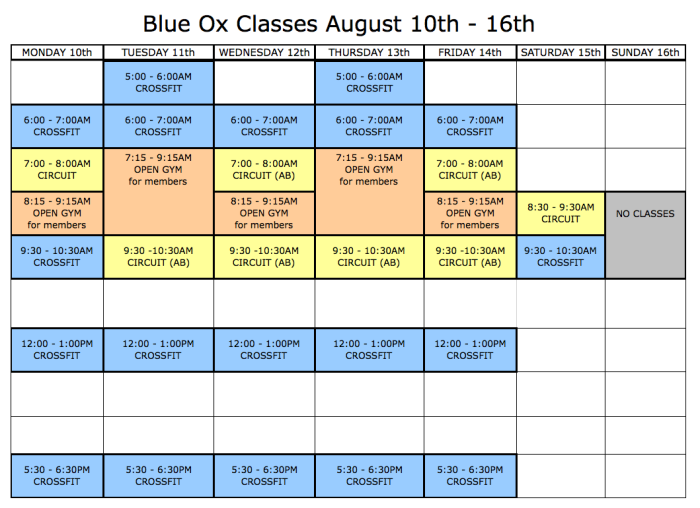 Classes Aug 10