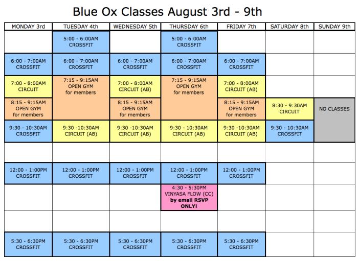 Classes Aug 3