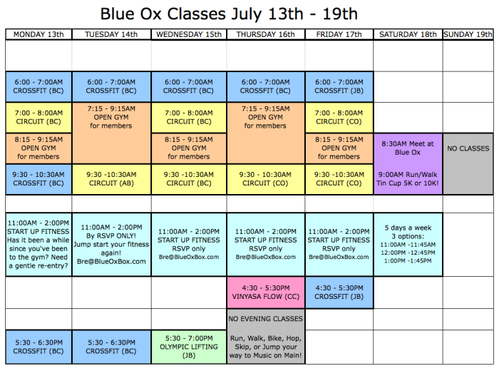 Classes July 13