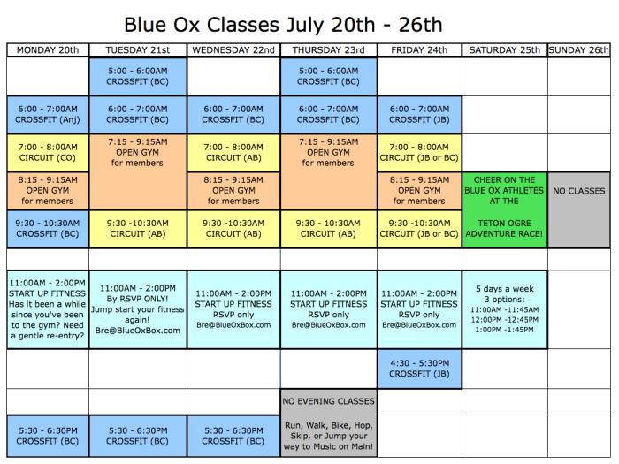 Classes July 20