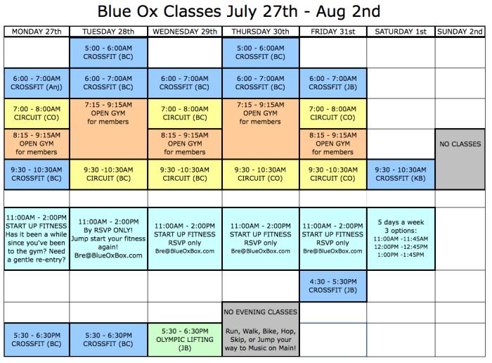 Classes July 27